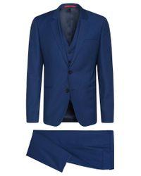 HUGO | Blue 'arvon/wiant/hilwert' | Slim Fit, Super 100 Virgin Wool 3-piece Suit for Men | Lyst