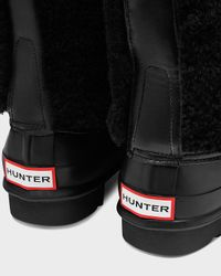 HUNTER - Black Women's Original Shearling Lace-up Boots - Lyst