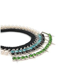 Joomi Lim - Multicolor Pearl & Crystal Braided Triangle Necklace - Lyst