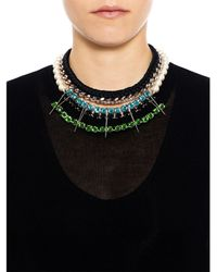 Joomi Lim | Multicolor Pearl & Crystal Braided Triangle Necklace | Lyst