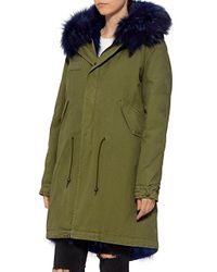 Mr & Mrs Italy - Blue Army Patch Coyote And Murmasky Fur Lined Knee Length Parka - Lyst