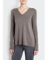 INHABIT | Gray Fly-away V-neck Sweater | Lyst