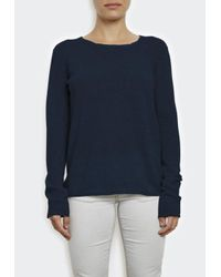 INHABIT | Blue Extra Fine Cashmere Tee With Pointelle | Lyst