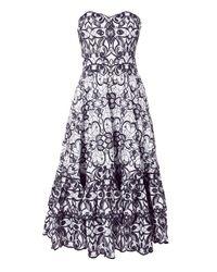 Jonathan Simkhai - Blue Embroidered Bustier Midi Dress - Lyst