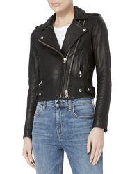 IRO - Dylan Black Leather Cropped Moto Jacket - Lyst