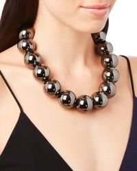 Oscar de la Renta - Metallic Gunmetal Beaded Necklace - Lyst