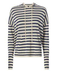 Nili Lotan - Blue Hooded Stripe Sweater - Lyst