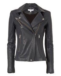 IRO - Blue Exclusive Tara Leather Moto Jacket: Navy - Lyst