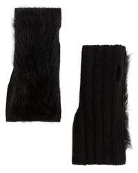 Yves Salomon - Black Shearling Lamb Fingerless Gloves - Lyst