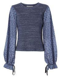 See By Chloé | Blue Crochet Sleeve Knit Tee | Lyst