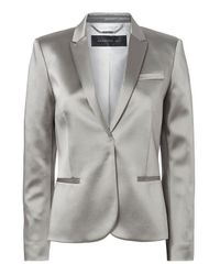 Barbara Bui | Metallic High-shine Silver Blazer | Lyst
