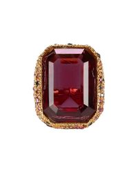 Kenneth Jay Lane | Red Crystal Cocktail Ring | Lyst