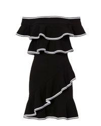 Rebecca Vallance - Black Contrast Trim Ruffle Mini Dress - Lyst
