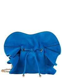 Nina Ricci | Lily Ruched Ruffle Blue Suede Shoulder Bag | Lyst