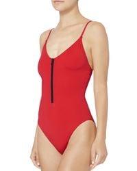 Onia - Arianna Half Zip Red One Piece Swimsuit - Lyst