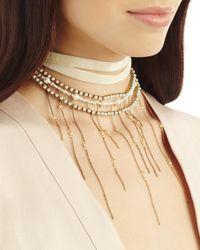 Erickson Beamon - White Wrap Tie Pearl Fringe Necklace - Lyst