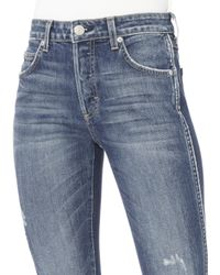 AMO - Blue Babe White Piping Detail Jeans - Lyst