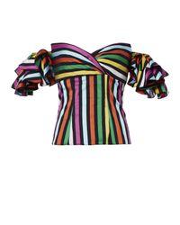 Caroline Constas Blue Louisa Ruffle Sleeve Striped Top