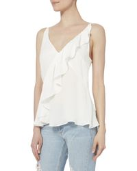 Exclusive For Intermix - White Tess Sleeveless Ruffle Top - Lyst