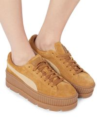 PUMA - Metallic Cleated Brown Suede Creeper Sneakers - Lyst