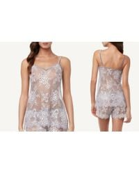 Intimissimi - Gray Romantic Lace Top In Lace - Lyst