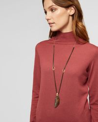 Jaeger - Brown Nicole Flat Stone Long Necklace - Lyst