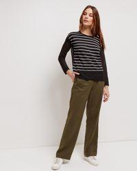 Jaeger - Black Linen Stripe Overlay Sweater - Lyst