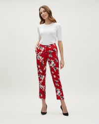 Jaeger - Red Brushstroke Floral Parallel Trousers - Lyst