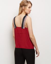Jaeger | Red Silk Colour Block Panel Top | Lyst