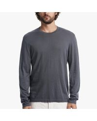 James Perse | Gray Cotton Crew Neck Sweater for Men | Lyst