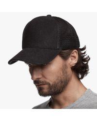 James Perse   Black Double Face Knit Trucker Hat for Men   Lyst