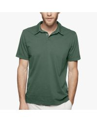 James Perse | Green Sueded Jersey Polo for Men | Lyst