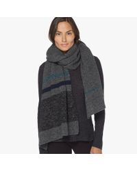 James Perse - Gray Wool Blend Striped Scarf - Lyst