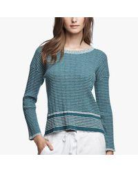 James Perse | Blue Vintage Wool Stripe Crew | Lyst