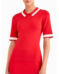 Jason Wu - Red Short Sleeve Knit Polo With Contrast Stripe - Lyst