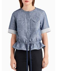 Jason Wu - Blue Short Sleeve Denim Double Face Top With Cinched Waist - Lyst
