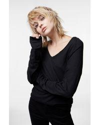 J Brand - Long Sleeve V-neck Tee In Black - Lyst