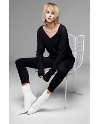 J Brand - Long Sleeve V-neck Tee In Black - Lyst