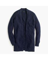 J.Crew - Blue Ribbed Long Cardigan Sweater - Lyst