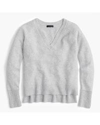 J.Crew - Gray V-neck Sweater In Yarn - Lyst