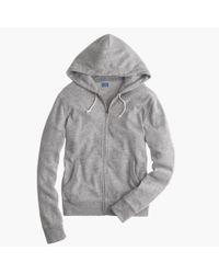 J.Crew - Gray Brushed Fleece Zip Hoodie for Men - Lyst