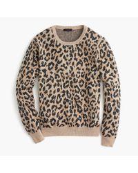 J.Crew - Multicolor Merino Wool Crewneck Sweatshirt In Leopard - Lyst