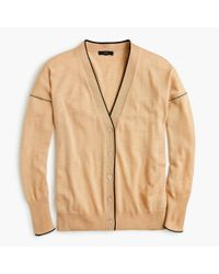 J.Crew - Natural Merino Wool Tipped Cardigan Sweater - Lyst
