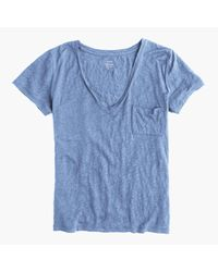 J.Crew - Blue Linen V-neck Pocket T-shirt - Lyst