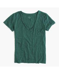 J.Crew | Green Linen V-neck Pocket T-shirt | Lyst
