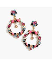 J.Crew - Multicolor Crystal Drop-hoop Clip-on Earrings - Lyst