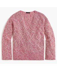 J.Crew - Pink Flared-sleeve Marled Swing Sweater - Lyst