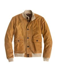 J.Crew | Brown Buttoned Suede Bomber Jacket for Men | Lyst