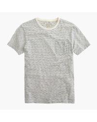 J.Crew | White Slub Cotton Textured Pocket T-shirt In Wavy Stripe for Men | Lyst