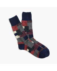 J.Crew | Blue Anonymous Ism Patchwork Crew Socks for Men | Lyst